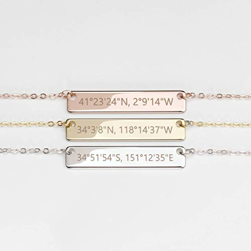 Gift for Her Hand Stamped Custom Coordinates Necklace in Gold Silver Rose Gold Personalized Name...