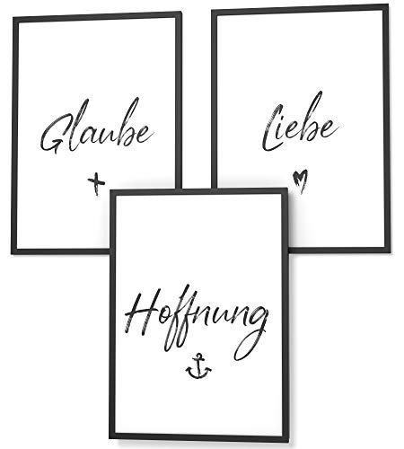 Papierschmiede® Spruch-Poster Set in DIN A4 | Glaube Liebe Hoffnung | Typografie für Zuhause als Kunstdruck ohne Rahmen