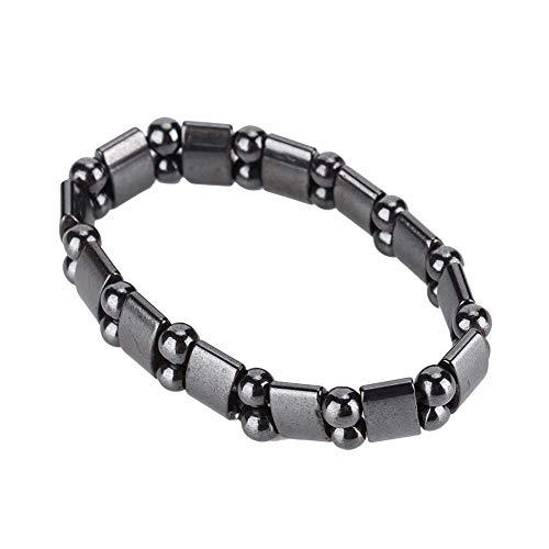 Men Women Unisex Magnetic Black Bracelet, Adjustable Therapy Bracelet Magnet Bracelet, Single Row Healthy Care Bracelet Gift for Pain Relief, Reduce Fatigue Muscle Tension(A)