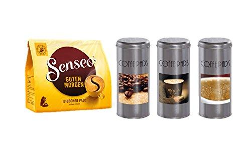 Senseo Guten Morgen 10 Pads + Kaffeepaddose 18 Pads - 2016 Set 3 Motiven