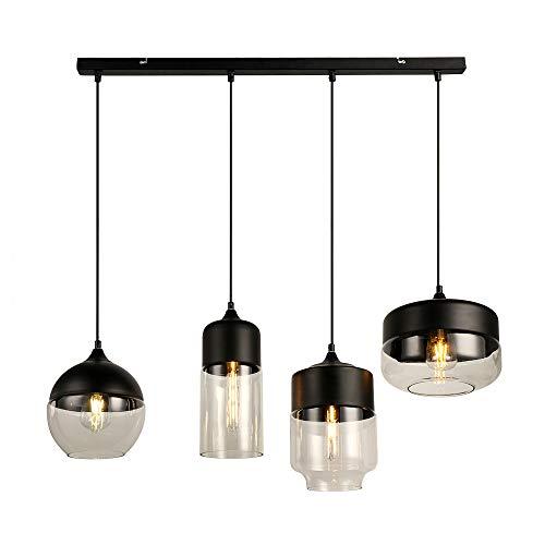 Europa moderno Loft colgante 4 luces negro claro color cristal lámpara colgante accesorios E27 LED luces de techo cocina restaurante bar sala de estar dormitorio