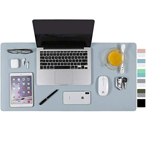 """KAUPUAR Dual-Sided Desk Pad Office Desk Mat, Ultra Thin Waterproof PU Leather Mouse Pad Desk Blotter Protector, Desk Writing Mat for Office and Home (Light Blue/Silver, 31.5"""" x 15.7"""")"""