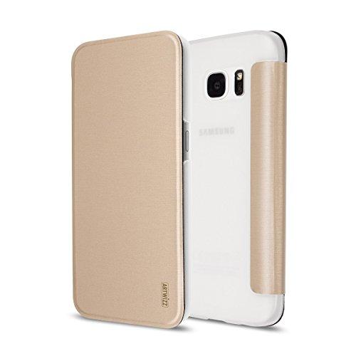 Artwizz 9758-1743 Smartjacket Etui für Samsung Galaxy S7 - Schutz-Hülle im Metall-Look mit Frontcover, Rückseitenschutz und geschmeidigen Grip - Designed in Berlin - Gold