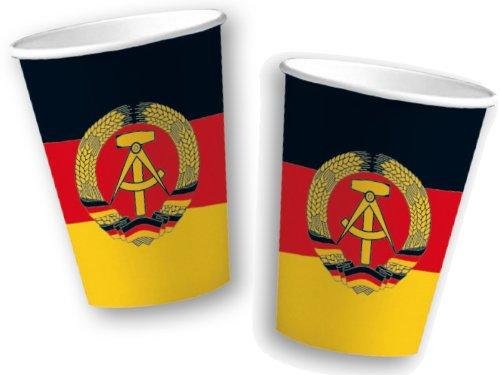 10 Pappbecher im * DDR * für Party und Geburtstag von DH-Konzept // Becher Partybecher Party Fete Set Mottoparty Deutsche Demokratische Republik Schwarz Rot Gold Hammer Sichel Ostalgie