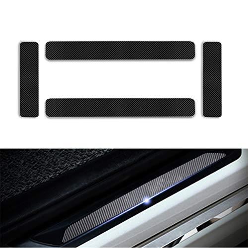 Yingpuchuang Protectores de Umbral de la Puerta del Coche para Hyundai i10 i20 ix20 ix35 i30 i40 Tucson 4D Vinilo Fibra de Carbono Adhesiva Pegatinas Negro 4 Piezas