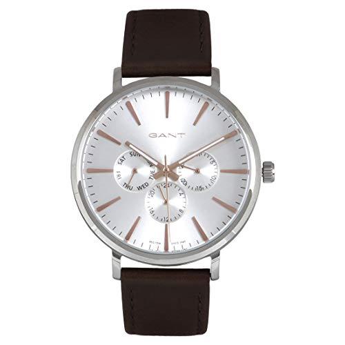 Reloj GANT para Hombre con Correa de Piel Genuina Plateada