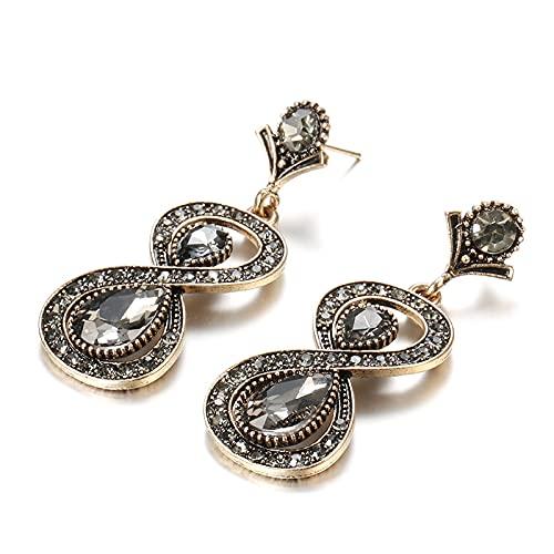 Pendientes Vintage Aleación de oro Cristal gris Líneas geométricas Cruce Pendientes largos inusuales para mujer Joyería de moda