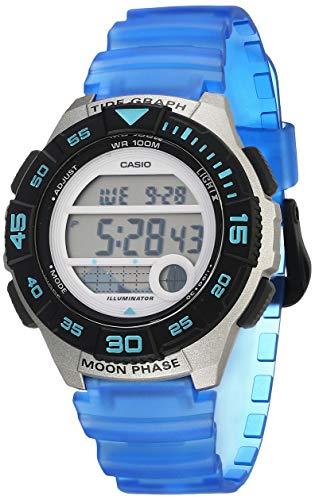 Casio Reloj casual para mujer con batería de 10 años, correa de resina, azul, 19.9 (modelo: LWS-1100H-2AVCF)