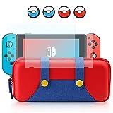 DJROLL Carrying Bag compatible con Nintendo Switch, elegante funda de transporte de carcasa dura portátil con 2 protectores de pantalla de vidrio templado, 10 ranuras para tarjetas de juego