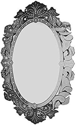 Venetian Oval Shaped Flower Border Desiner Mirror | Silver |28x44 Inches| by Venetian Image