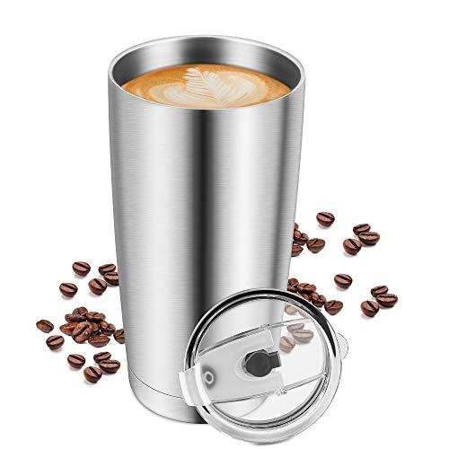 Venga amigos Isolierte Kaffeetasse,304 Edelstahl Reisebecher Vakuum-Thermobecher mit Deckel für Home Office Outdoor Camping Wandern Picknick Teetasse (600ml)