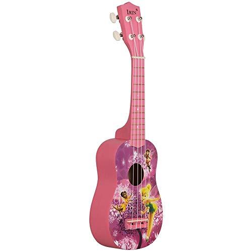 Ukulele 21 Zoll 15 Bünde Sopran-Ukulele 4 Nylonsaiten Gitarre Muster Universal Akustik Instrument Pink