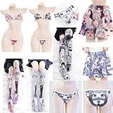 Bikini Conjunto de lencería Sexy para Mujer, Lindos Pantalones de Loli, Calcetines hasta el Muslo, Sujetador con Espalda en T, Tanga, Cosplay, Falda Shimapan