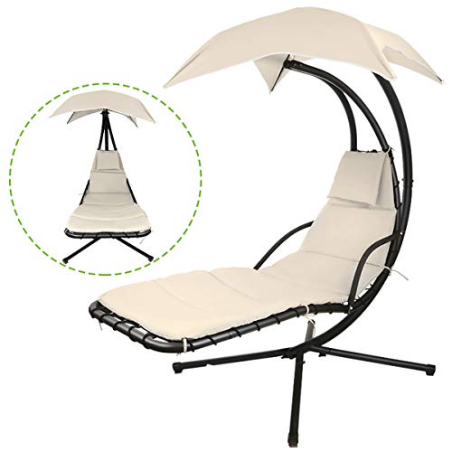 Hanging chaise lounger chair arc stand porch swing hammock chair w/canopy (beige)