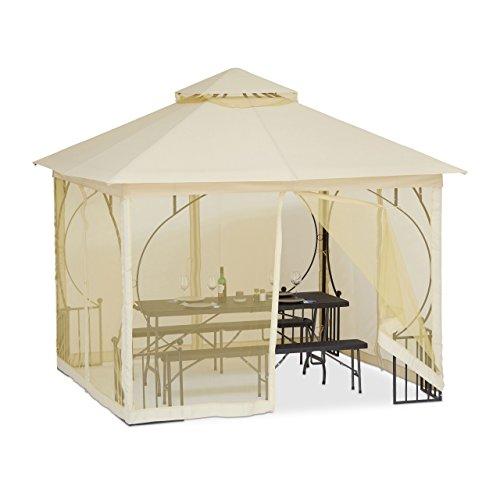 Relaxdays Pavillon 3x3m mit 4 Seitenwänden, Partyzelt, edel, wasserabweisend, stabil, aus Polyester, champagnerfarben