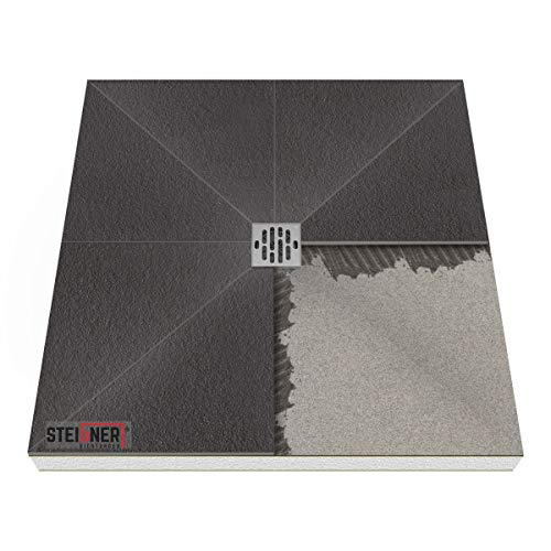Duschelement MINERAL BASIC Duschboard befliesbar 100x100 cm Ablauf WAAGERECHT - EPS Bodenelement ebenerdig
