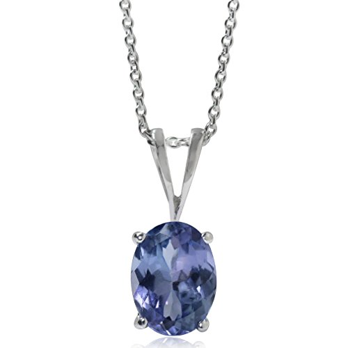 Silvershake 1.32ct. Genuine Tanzanite 925 Sterling Silver Solitaire Pendant with 18 Inch Chain Necklace