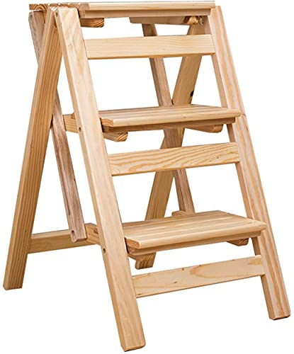 MUZIDP Taburetes para escalones portátiles de 3 pasos plegables de madera maciza para el hogar, escaleras, escaleras, escaleras, plegable, color madera