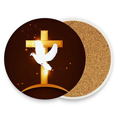 Happy Pentecote Sunday Colombe ronde en céramique absorbante pour boissons, boissons, café, ensemble de tapis pour maison, bureau, bar, cuisine (lot de 1), Céramique, multicolore, 1 pièce