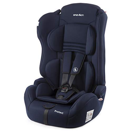 BABYLON Babysitz Auto Protect Autokindersitz Gruppe 1/2/3, Kindersitz 9-36 kg (1 bis 12 Jahren). Kindersitz mit Top Tether 5 Punkt Sicherheitsgurt. Autositz ECE R44/04 Marineblau