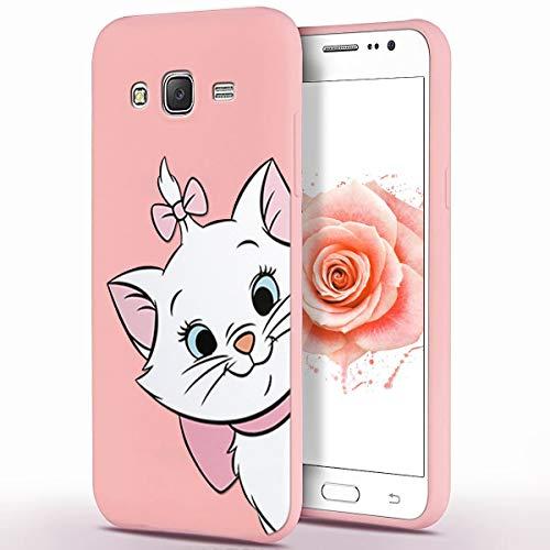 ZhuoFan Cover Samsung Galaxy J3 2016, Custodia Cover Silicone Rosa con Disegni Ultra Slim TPU Morbido Antiurto 3D Cartoon Bumper Case Protettiva per Samsung Galaxy J3 2016, Gatto
