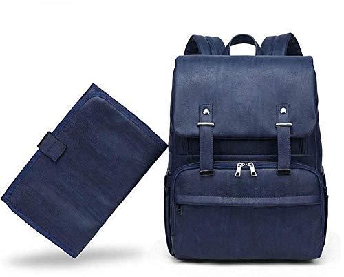 Etyybb elegante mochila para pañales de cuero PU con cambiador portátil bolsas para pañales cama plegable de gran capacidad-azul_L