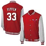 Scottie Pippen # 33 Camisa de la Chaqueta de béisbol, Chicago Bulls Hombres de Manga Larga de Baloncesto más cálida Lana con Capucha (Color : Red, Size : S)