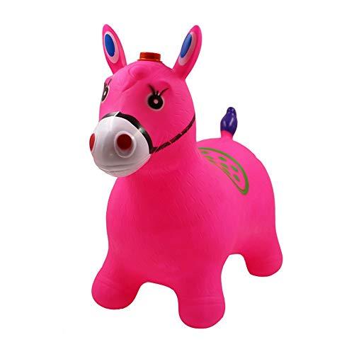 Xyanzi Kleinkindspielzeug Aufblasbarer Prahlersitz, Springpferd Blue Horse Hopper Pumpe Inklusive Space Hopper, Aufsitz-Hüpfkorb, Pink/Rot (Farbe : Rosa)