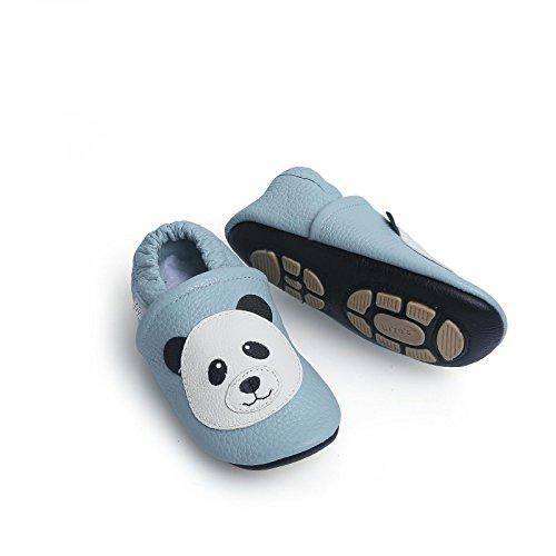 Liya's Hausschuhe Lederpuschen mit Teilgummisohle - #607 Panda in hellblau-25/26-607 Panda