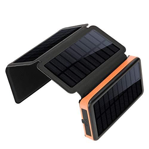 Caricatore solare impermeabile, caricatore portatile della Banca di potere di capacità enorme 20000mAh, 2 porti di uscita Pacco batteria LED Torcia elettrica & SOS Spia per attività all'aperto