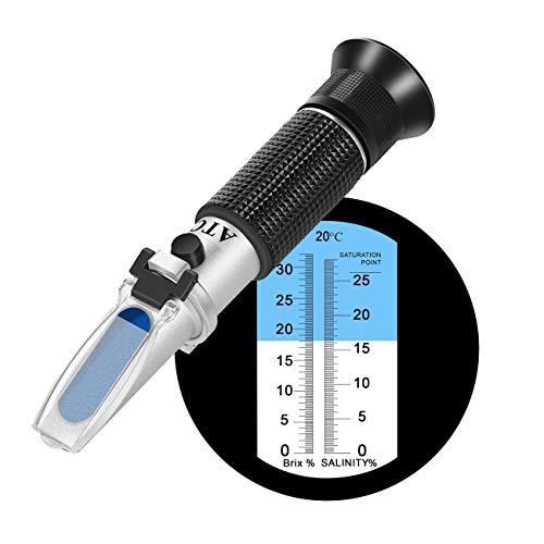 Rifrattometro di salinità Brix a doppia scala (2 in 1),0-32% Brix / 0-28% di salinità con ATC per la misurazione di liquidi correlati a zucchero e salinità come zuppa, salsa di soia, ketchup ecc.