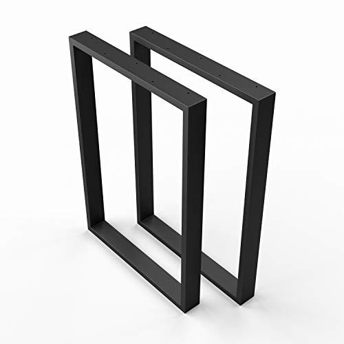 SOSSAI Stahl Tischkufen | SCHWARZ | 2 Stück | Tischgestell | Breite 70 cm x Höhe 72 cm | TKK1 | Edelstahl, pulverbeschichtet