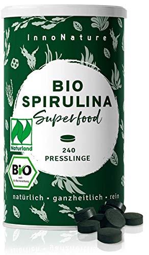 Bio Naturland Spirulina Presslinge aus Indien, 500mg pro Pressling, 6g täglich, tierversuchsfrei, vegan, hergestellt in Deutschland