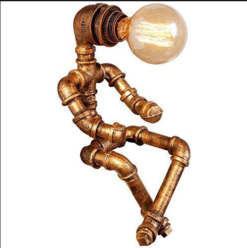 Ellyeall Lámpara Mesa Creativa Personalidad Hierro Planchado Robot Loft Tubo Creativo Retro Industrial Viento para Mesita De Noche Restaurante Bar,Latón