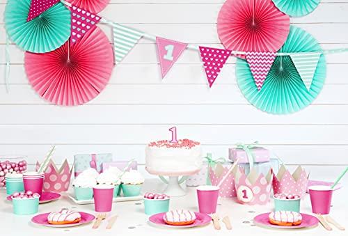 PartyDeco Candela compleanno ROSA numero 1 UNO da 7 cm