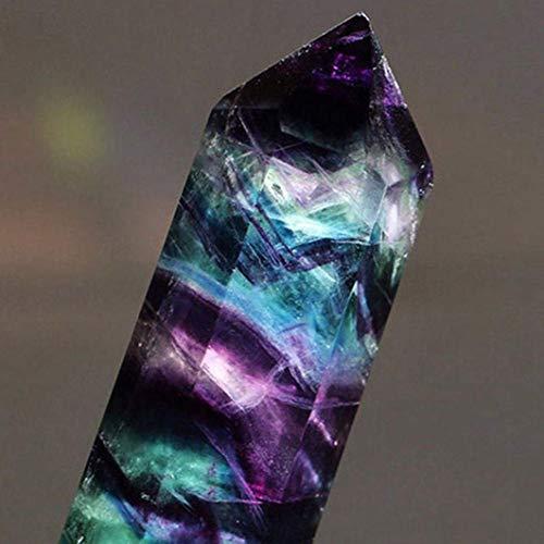 TrifyCore - Cristal en forma hexagonal, brillante, deslumbrante, natural, cuarzo y fluorita con propiedades curativas, en tonalidades morada y verde (C)
