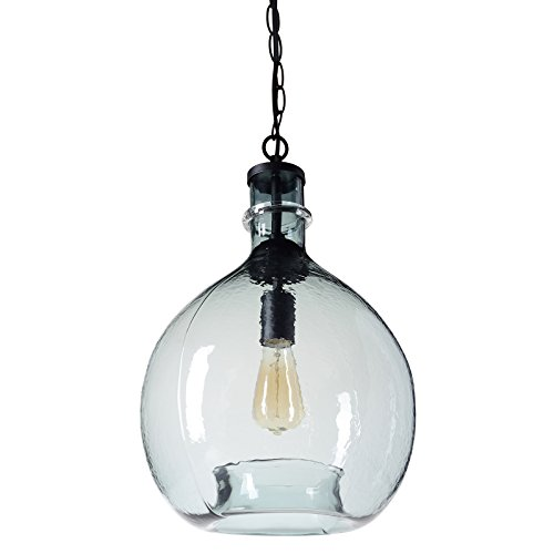 CASAMOTION Wavy Hammered Hand Blown Glass Pendant Light, 1...
