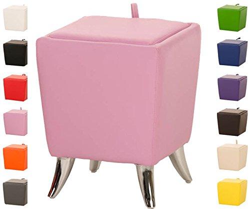 CLP Sitzhocker ROXY mit Stauraum I Quadratischer Hocker mit hochwertiger Polsterung und Kunstlederbezug I Sitztruhe mit abnehmbaren Deckel I In verschiedenen Farben erhältlich Pink
