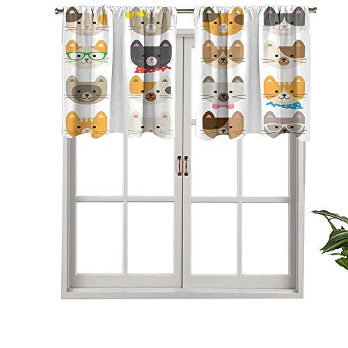 Hiiiman Cortinas pequeas para ventana, disfraz de gatos con filtro de luz, con gafas, pajarita, pauelo de dibujos animados, juego de 1, 106,7 x 45,7 cm para cocina, comedor, habitacin de nias