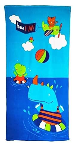 Goods4good Toalla Playa Piscina Secado Rápido Ligera Fácil Llevar 150x70cm Mujer Hombre Niña Niño Tortuga Dinosaurios Caravana Palmeras Verano (Azul)