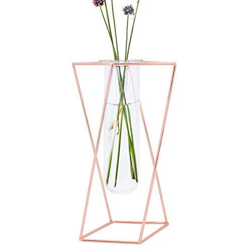TAECOOOL Tischglas Reagenzglas Vase Dekorationen mit Roségold geometrischen Metallrahmen, geometrische Vasen für Blumen im Studienbüro Coffee Table Center (golden, L-24CM)