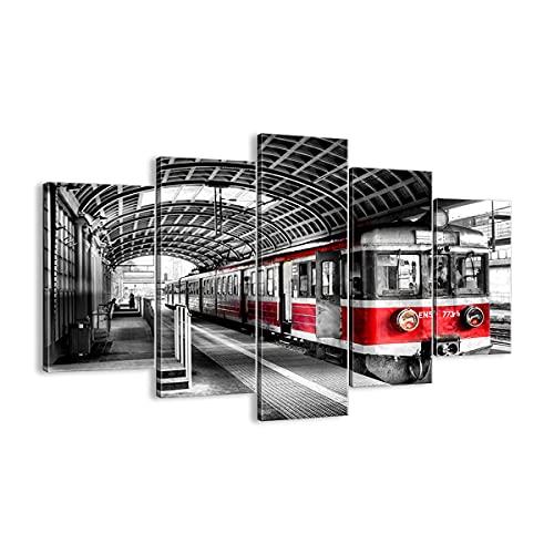 ARTTOR Cuadro sobre Lienzo - Impresión de Imagen - Ferrocarril estación Tren Transporte - 150x100cm - Imagen Impresión - Cuadros Decoracion - Impresión en Lienzo - Cuadros Modernos - EA150x100-2558