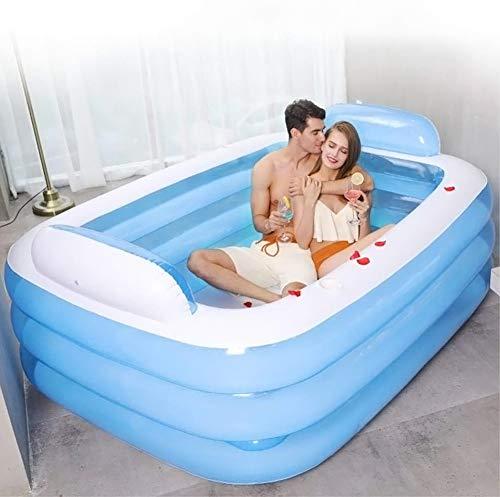 Opblaasbare Family Pool Large met hoofdkussen Verdikte 3 Ring Pool,Backrest bathtub,150X105X55
