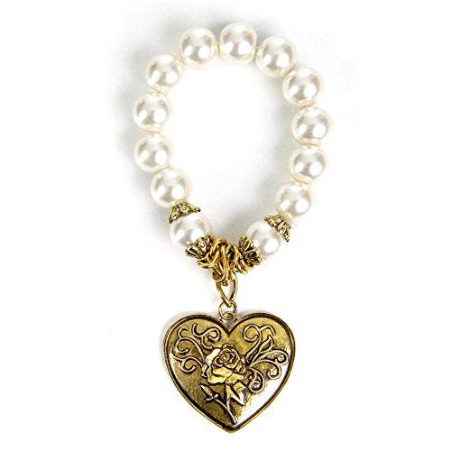 ALMBOCK Trachten Armband Damen - Trachtenarmband Perlen - Perlenarmband mit Herz antik vergoldet - Trachten Armband - Trachtenschmuck Armband Damen
