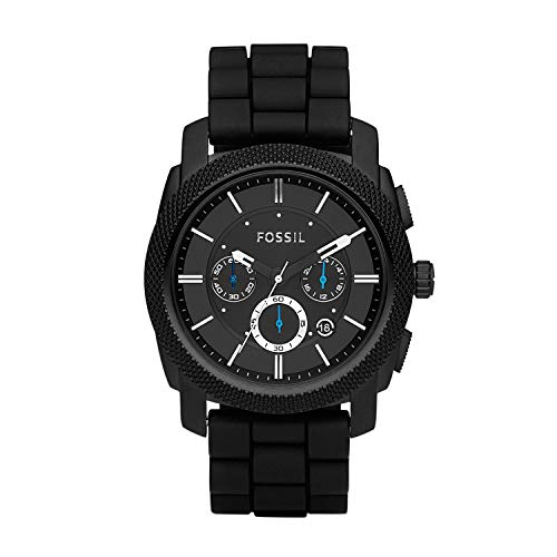 Fossil Men's Machine Chrono Quartz Silicone Chronograph Watch, Color: Black (Model: FS4487IE)