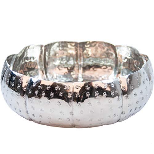Orientalisches rundes Tablett Schale aus Metall 26cm groß Silber | Orient Dekoschale mit hohem Rand | Marokkanisches Serviertablett Rund | Orientalische Silberne Deko auf dem gedeckten Tisch