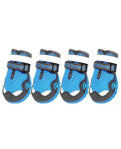 ASMPET Dog Booties Hardwood Floor Adjustable Straps Dog Boots Breathable Rubber Dog Boots 4PCS Blue 07