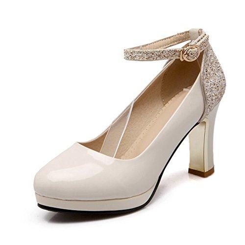 VogueZone009 Damen Schnalle Hoher Absatz Blend-Materialien Rein Rund Zehe Pumps Schuhe, Cremefarben, 34