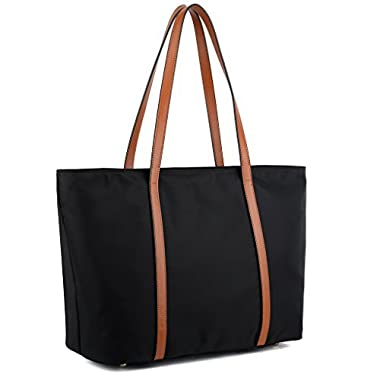 YALUXE Women's Oxford Nylon Large Capacity Work Tote Shoulder Bag Black