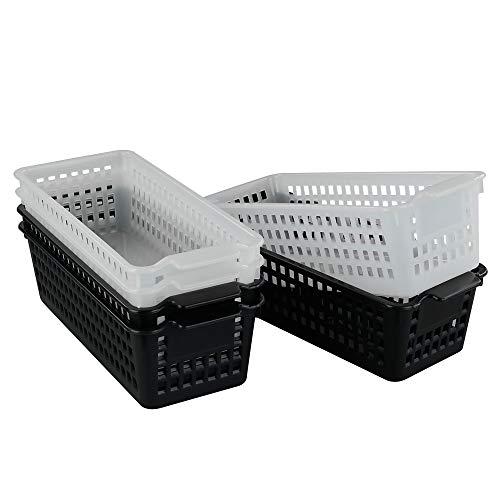 Lesbye Cestas de Almacenamiento Rectangulares Paquete de 6, Cesta de Plástico, Negro y Transparente Oficina de Cestas de Plastico